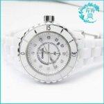 シャネルの時計J12 H1628!白セラミック ダイヤモンド入買取価格